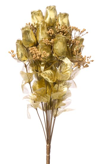 Metallic Gold Artificial Rose Bud Bouquet Anniversary
