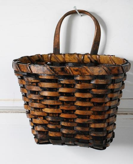 Primitive Dark Stain Wall Basket Baskets Buckets