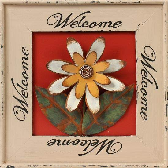 Primitive Quot Welcome Quot Frame With Painted Metal Flower Wall