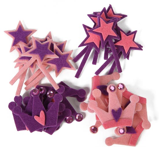 Princess wand and crown felt stickers felt squares for Princess wand craft kit