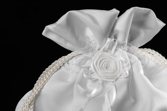 White Satin with Lace Detailing Money Bag Purse For the Bride Wedding