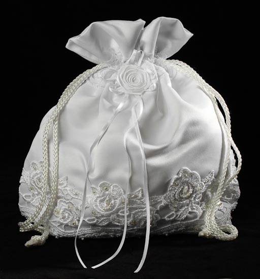 White Satin with Lace Detailing Money Bag Purse - Wedding Ceremony ...