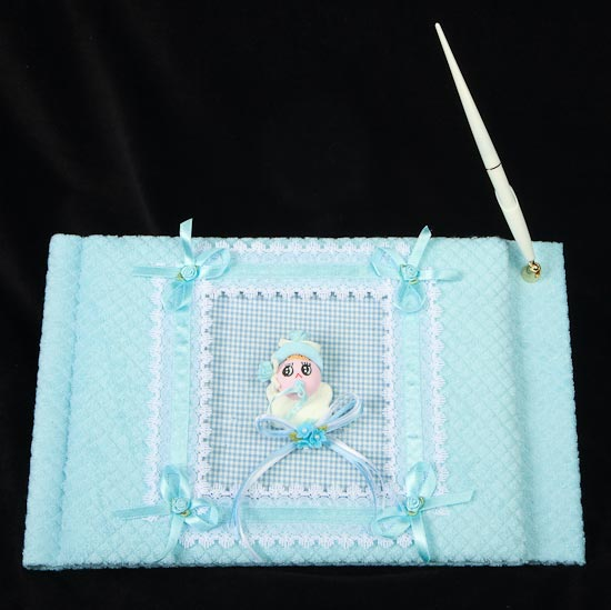 Blue Covered Book ~ Blue covered baby shower guest registry book with pen