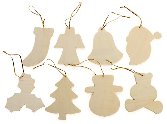 Pkg unfinished wood christmas ornaments assortment wood