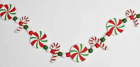 Red And Green Peppermint And Candy Cane Garland 8 Feet Long