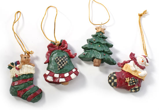 Miniature rustic resin christmas ornaments on sale holiday crafts