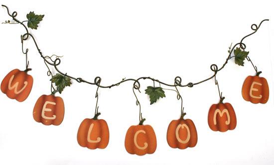 fall  quot welcome quot  metal pumpkin garland fall and halloween primitive decor wedding shower clipart for wordpad wedding shower clipart for wordpad