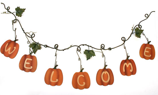 "Fall ""Welcome"" Pumpkin Garland - Fall and Halloween - Primitive Decor -  Factory Direct Craft"