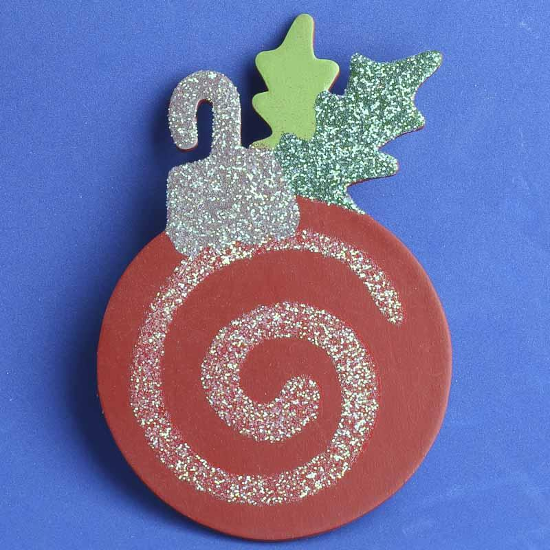 Finished glitter wooden ornament cutout winter holiday for Wooden christmas cutouts