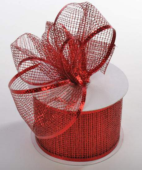 Red Metallic Mesh Wired Ribbon - Ribbon and Trims - Craft Supplies