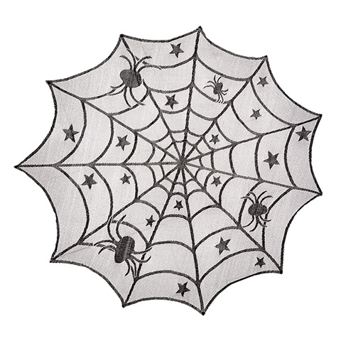 Black Lace Spider Web Doily Fall And Halloween Primitive Decor