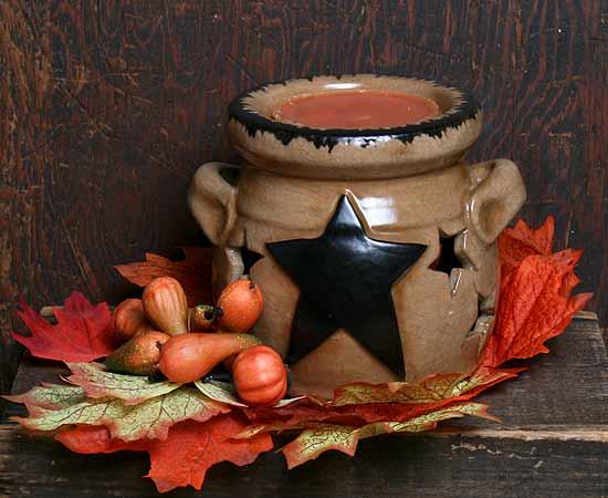 Primitive Black Star Ceramic Tart Burner Candles And