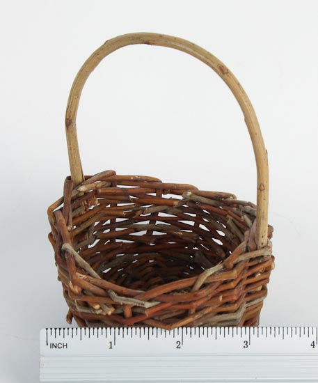 How To Weave A Basket Out Of Twigs : Mini round brown twig basket primitive sale sales