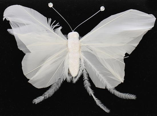 White feather artificial butterfly birds butterflies for Synthetic feathers for crafts