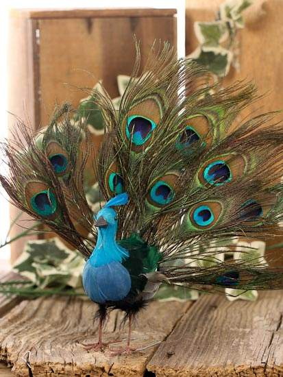 Open tail feathered artificial peacock birds for Feathered birds for crafts