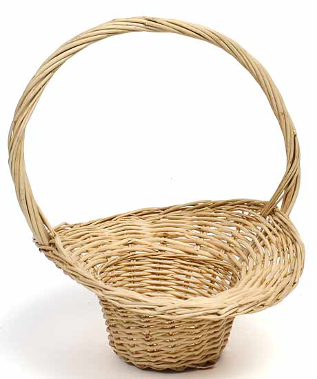 Natural Wicker Flower Girl Baskets : Fall autumn flowergirl willow hat basket with handle