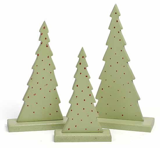 3 Piece Christmas Tree Painted Wood Table Decoration