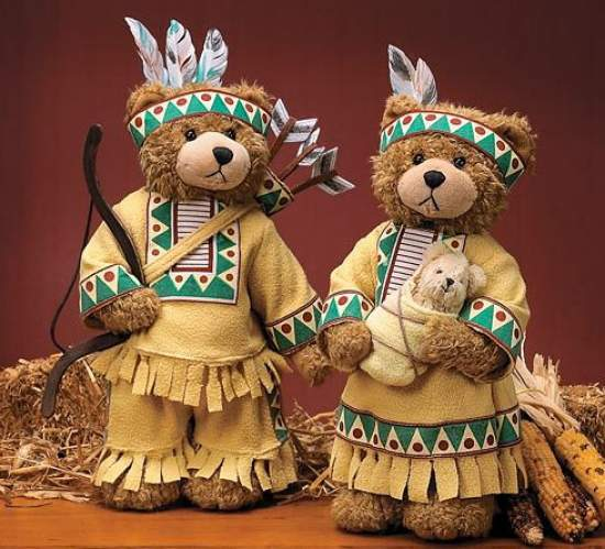 Set of 2 native american teddy bears doll making for Native american thanksgiving crafts