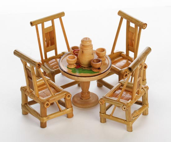 Handcrafted Doll House Miniature Bamboo Table and Chair Set - Fairy ...