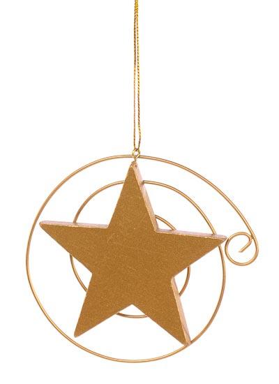 Gold metal swirl wood star ornament christmas ornaments