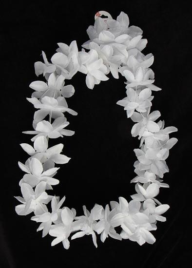 All White Silk Hawaiian Plumeria Lei Luau And Beach