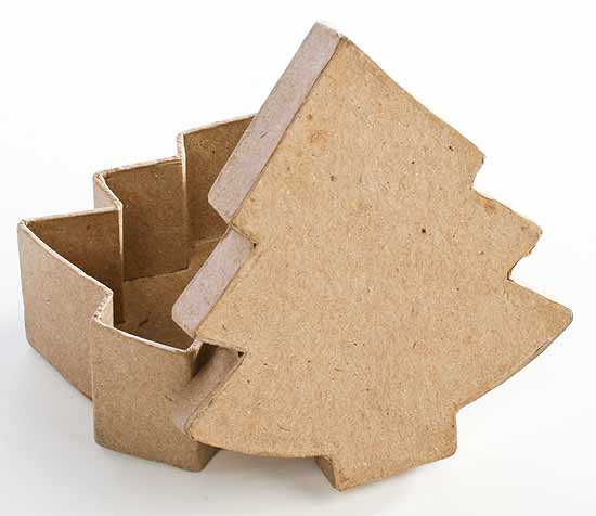 Paper mache christmas tree box paper mache basic craft for Christmas tree in a box