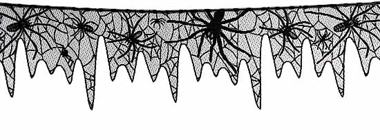 Black Creepy Crawly Spider Web Lace Trim Sales