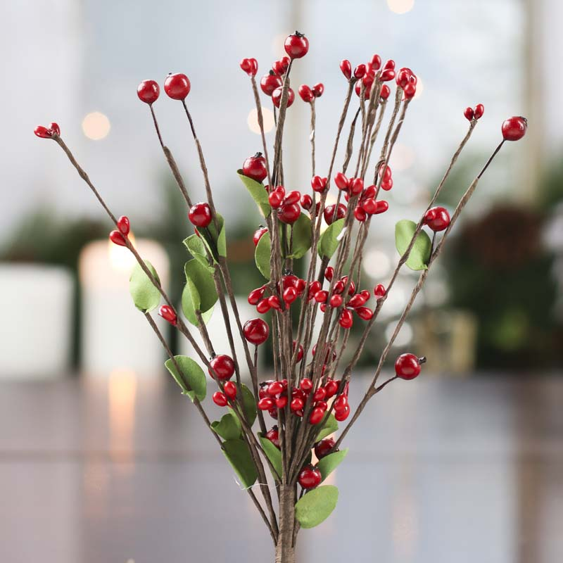 Artificial Red Pip Berry Stem Pip Berries Primitive Decor
