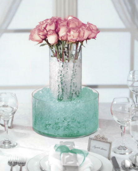 Turquoise Sea Water Storing Crystal Accents Vase Fillers