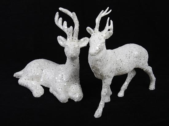 Pair Of 2 White Glitter Deer Holiday Decorations