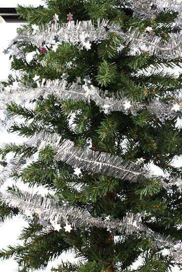 Silver star and tinsel garland christmas garlands