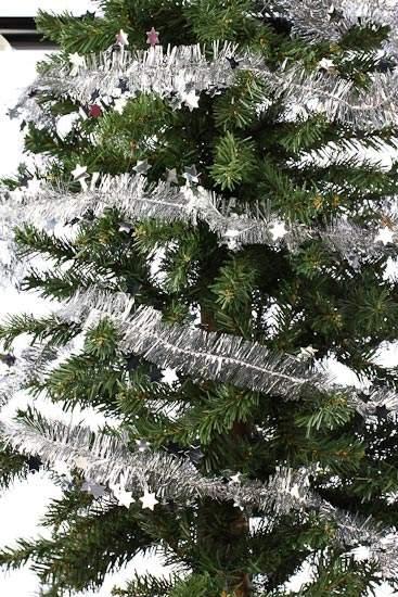 Silver star and tinsel garland christmas garlands