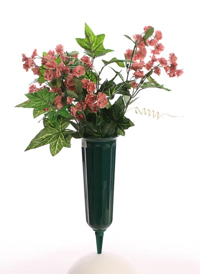 Green Plastic Fluted Cemetery Cone Vase Floral Design