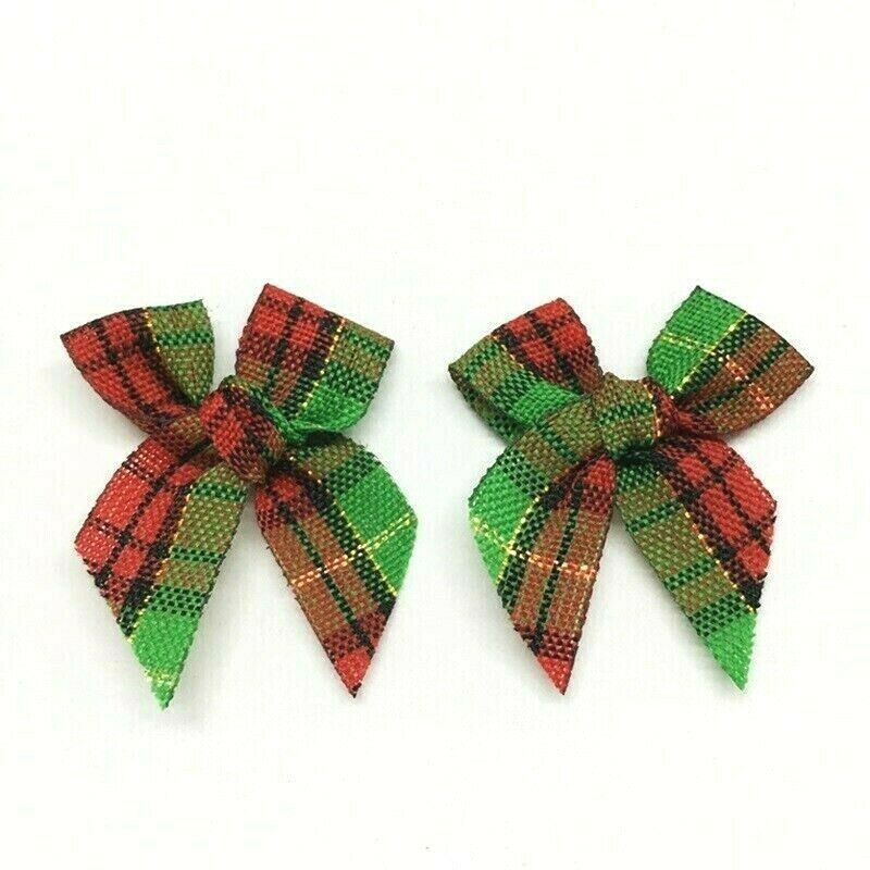 Set Of 36 Red And Green Tartan Plaid Pretied Bows