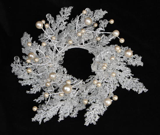 White Iced Branch And Beads Candle Ring Wreath Candle