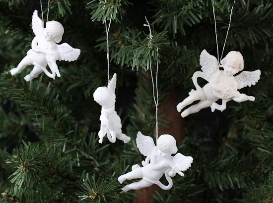 Angel Ornaments For Christmas Tree.White Cherub Angel Ornament 24 Pcs Christmas Ornaments