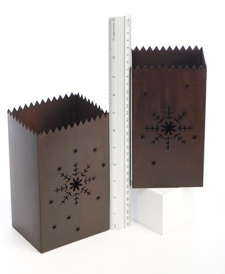 Set Of 2 Rustic Metal Snowflake Cutout Luminaries Table