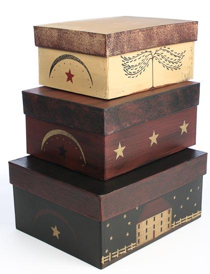 Set Of 3 Primitive House Nesting Boxes Baskets Buckets