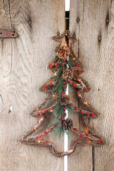 Grapevine Twig Wall Lighted Christmas Tree With Berries
