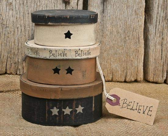 Set Of 3 Primitive Quot Believe Quot Nesting Boxes Baskets