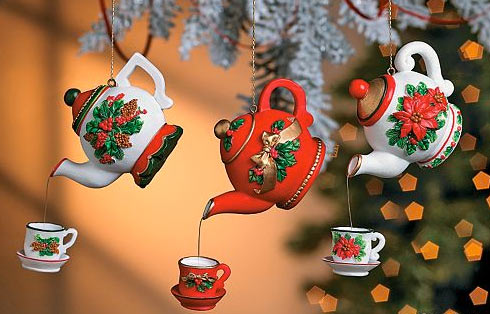 Click Here For A Larger View - Resin Dangling Christmas Teapot And Cup Ornaments -6 Pcs - Christmas