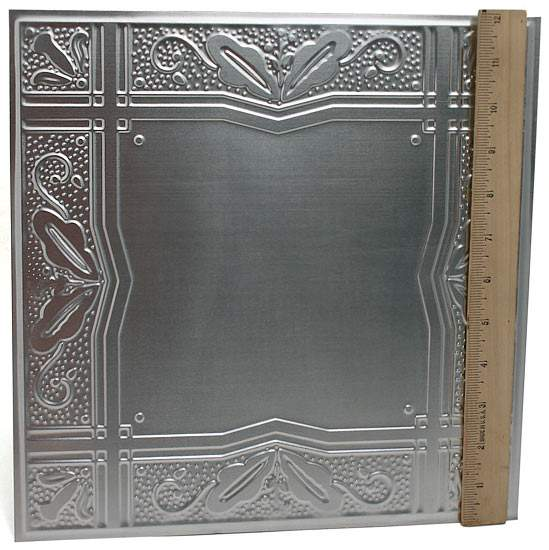 "12"" Galvanized Metal Embossed Tin Leaves And Berries Tile"