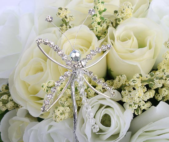 wedding bouquets with bling rhinestone dragonfly bridal bouquet picks and stems 8537