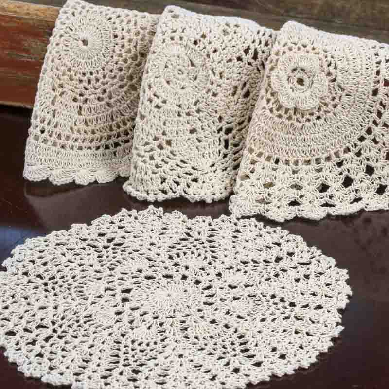 Crochet Doilies : Ecru Round Crocheted Doilies - Crochet and Lace Doilies - Home Decor