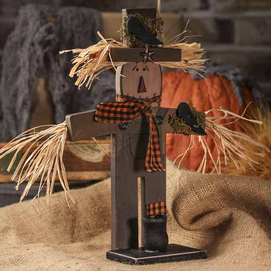 Primitive Wooden Scarecrow Candle Lamp Holder Fall And