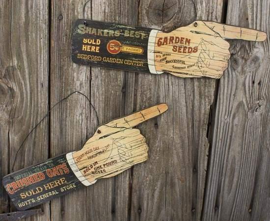 Set Of 2 Vintage Look Advertising Wooden Signs