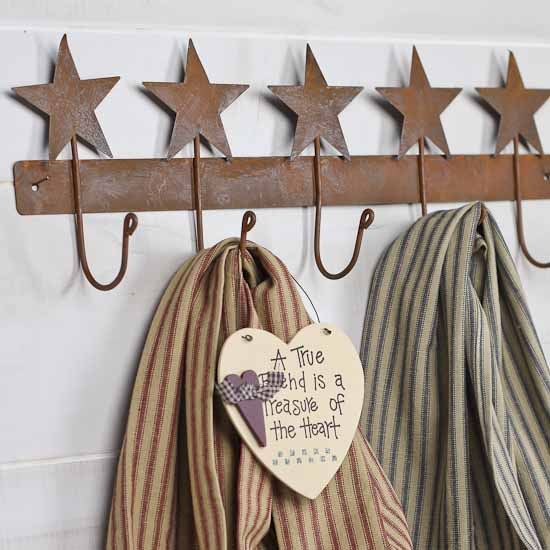 Primitive Rusty Tin Star Hanger Kitchen Towels And Bath Home Decor Factory Direct Craft