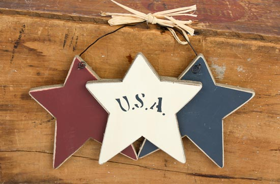 Usa americana wood stars on a wire home decor for Americana crafts to make