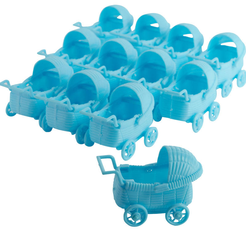 Blue baby carriage shower favors cake cupcake