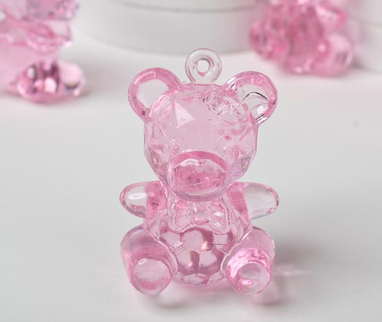 Pink Acrylic Teddy Bear Baby Shower Favors Its A Girl Theme Baby